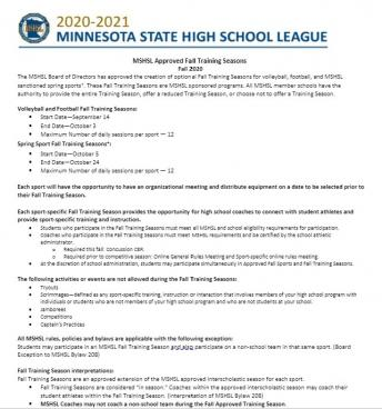 MSHSL Fall Approved Training Season Picture